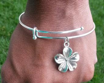 Flower Bracelet, Silver Bangle, Flower Bangle