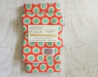 Bib & Burp Cloth Gift Set - Baby Girl Bibs - Burp Cloths - Polka Dots - Coral, Blue, Mint, Red - Girl Bib - Girl Burp Cloth - Burp Rag