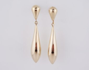 Vintage Mid-Century Dangle Earrings in 14k Yellow Gold