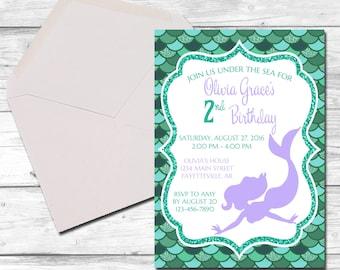 Mermaid Birthday Invitation, Teal and Purple, Mermaid Birthday, First Birthday, Invitation, Birthday Invitation, Mermaid, Printable 5x7