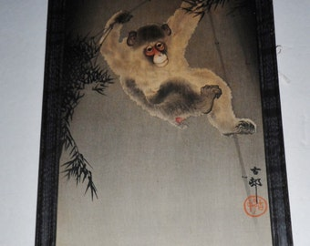 Early 1900's Asian Oriental Monkey signed Monkey painting