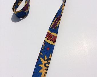 Comic Book Lanyard ID Badge Key Holder Keeper Fabric Cotton