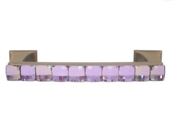 Decorative Drawer Pull Swarovski Crystal Gilded Bronze/Kitchen Cabinet Pull/Bathroom Vanity Pull/Girls Dresser Pull/Furniture Pull/Pink/Gold