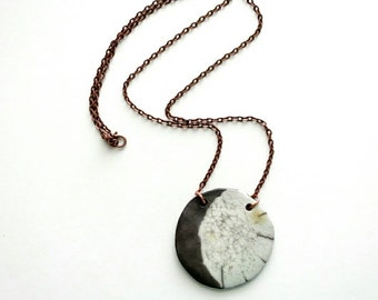 Gibbous moon necklace/ Ceramic clay pendant on 24 inch chain/ Raku pottery jewelry, lunar phase, gray and white