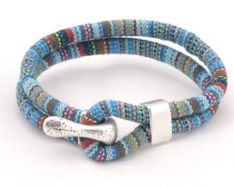 blue tones ethnic bracelet, multicolor woven bracelet, nautical hook bracelet, anniversary gifts for men, women, teens, fabric bracelet