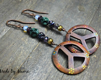 12 Gauge Rustic Earrings,Extra Long Peace Sign Dangle Earrings, Salvaged Recycled Lampwork Glass and Beads, Bohemian Gypsy Jewelry, Hippie