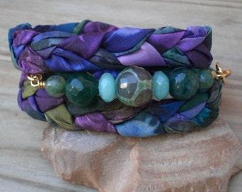 Hand dyed silk wrap bracelet, Purple silk bracelet Hippie bracelet, Boho jewelry, Hand dyed silk, Colorful bracelet, Silk ribbon bracelet
