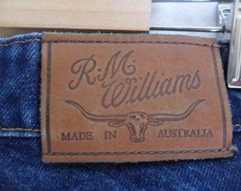 Vintage 80's Men's Jeans RM Williams Blue Denim Jeans   Tag Made in Australia   Size 34R   R M Williams Vintage Mens Jeans   Australian Jean