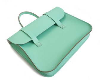 UK Made Real Leather Music or Laptop Case Satchel Messenger Bag (Spearmint Green)