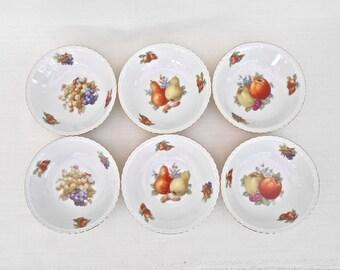 Set of 6 Winterling Bavaria Fruit Bowls with Gilt Scalloped Edges - Apples, Pears, Grapes - Vintage German Porcelain Bowls - Made in Germany