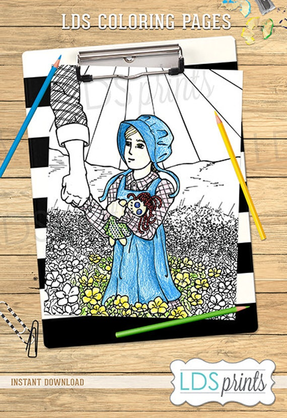 Ldscb016 lds adult coloring pages pioneer girl printable for Lds pioneer coloring pages