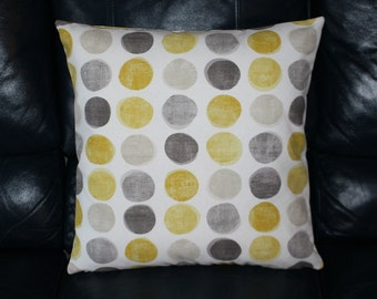 Handmade Cushion Cover Mustard Ochre Grey sStone Spots Circle Print On Off White Contemporary