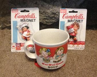 Vintage Campbell's Soup Mug and Two Fridge Magnet Unopened 1980s