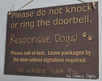 Grey Responsive Dogs Do Not Knock Warning No Soliciting Door Sign