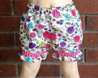 BABY GIRL BLOOMERS, colorful floral bloomers baby girls, size nb 3 6 12 18 24 months, pretty bloomers, floral bloomers