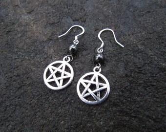 Silver Pentacle Earrings-Hematite Pentagram Earrings, Dangle Wiccan Earrings