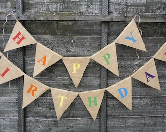 Happy Birthday Hessian Bunting Banner Vintage Party Decorations Personalised