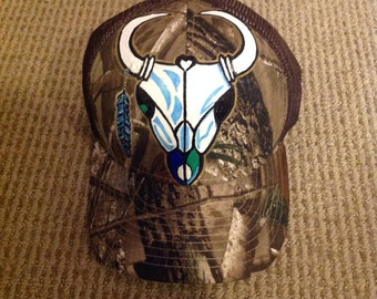 Hand painted cow skull trucker hat