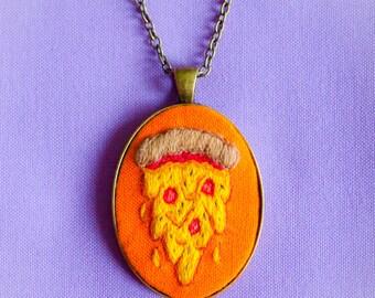Pizza Slice Hand Embroidered Cameo Pendant