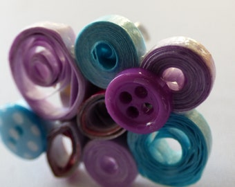 quilling ring blue and purple - Made in France