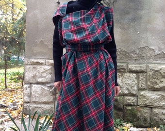 Asymmetrical Tartan dress pinafore/oversized dress/plaid dress