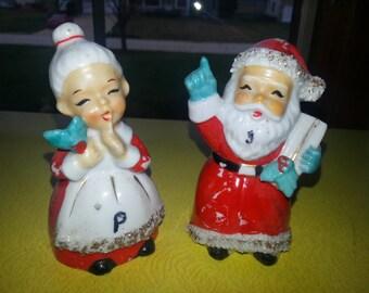 Vintage 1940s Spaghetti Santa&Mrs. Clause Salt and Pepper Set
