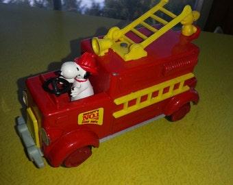 "Vintage 1962 Metal ""Snoopy's #1 Fire Dept."" Firetruck Aviva Toy"