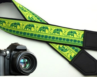 Lucky Elephant camera strap. Ethnic camera strap. DSLR/SLR Camera Strap. Camera accessories by InTePro