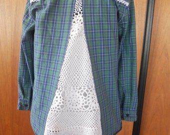 Upcycled flannel shirt with lace inlay/Recycle/Blue Green Plaid