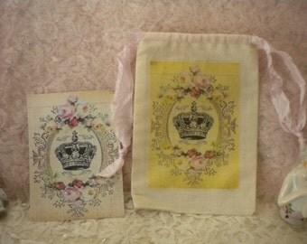 Shabby Chic Muslin Drawstring Bag with 8 Note Cards Vintage French Crown