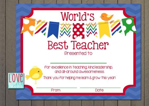 Teacher Appreciation Certificate End of the Year Class