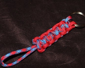 Paracord Keychain - Patriotic print, and red #C5