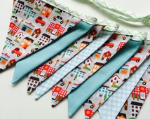 The Boys Bunting - Children's Bunting - Fabric Banner - Birthday Bunting made of cotton fabric - Firetrucks and Police cars (ready to ship)