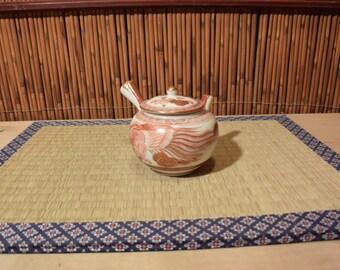 Japanese Kutani Porcelain Kyusu Teapot Antique Red / Gold