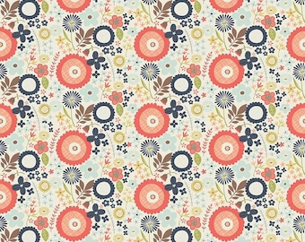 Riley Blake, Woodland Floral Navy, Coral and Navy blender Cotton Woven