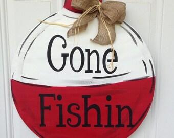 Gone fishin door hanger, fishing door hanger, lake house door hanger, lake house decor