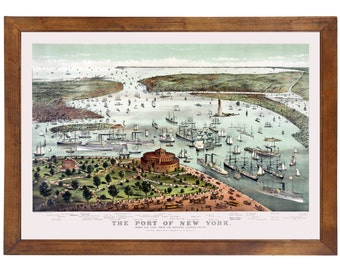 New York, NY 1892 Bird's Eye View; 24x36 Print from a Vintage Lithograph
