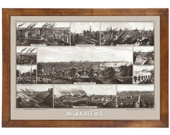 Milwaukee, WI 1882 Panorama; 24x36 Print from a Vintage Lithograph