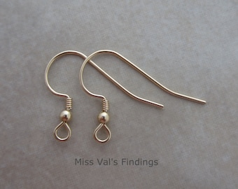 10 yellow gold filled ear wires with ball coil 21g