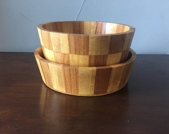 Inlaid Parquetry Wood Bowl Set