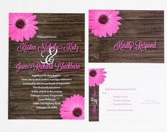 Pink Dainty Daisy Wedding Invitation & Rsvp Postcard, Rustic Daisy Wedding Invitation Set, fuchsia, Gerber Daisy, Pink Daisy, Rustic, Wood