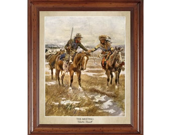The Meeting by Charles Russell (1910); 16x20 print showing painting title and artist's name