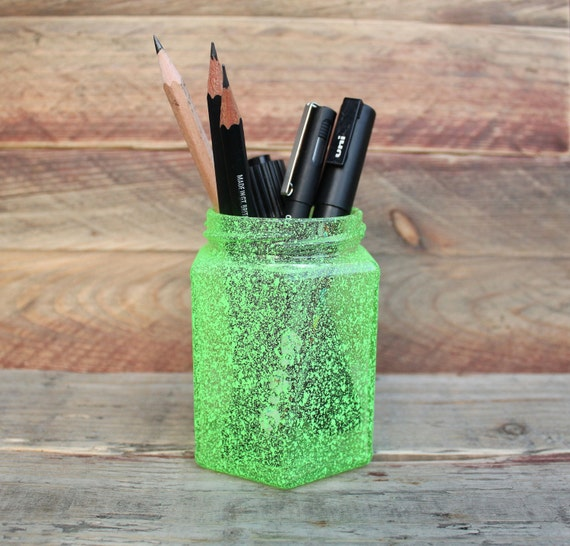 Small Neon Green Flecked Spray Paint Pencil Holder by xNotedx