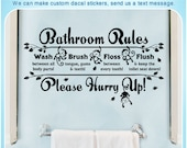 Monkey Bathroom Rules Quote Saying Vinyl Wall Home Decor Art Sticker Decal S099