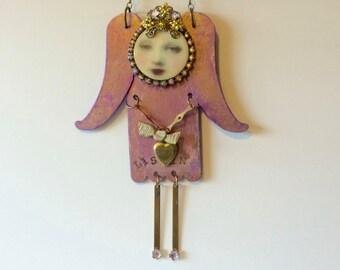 Mixed media angel art on metal - gift for angel collector - metal angel art - home decor - folk art angel  - pink angel - angel with heart