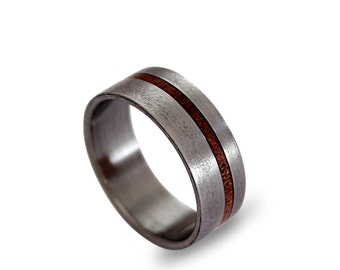 Mens Wedding Ring, Titanium Ring for Men with Rose Root Inlay mens Titanium Wedding Band, Men's Ring
