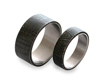Damascus Steel Ring Set, His And Hers Titanium Rings, Damascus Rings On Titanium
