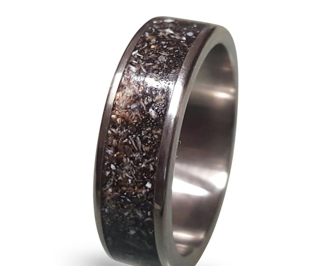 Titanium Wedding Band with Crushed Antler Inlay, Mens Antler Ring, Titanium Wedding Band