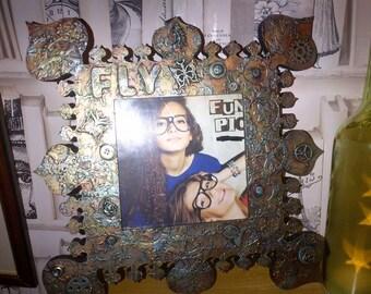 Handmade steampunk mixed media photo frame - 'FLY'