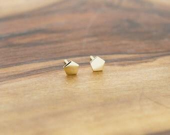 14KT Gold Polygon Stud Earrings